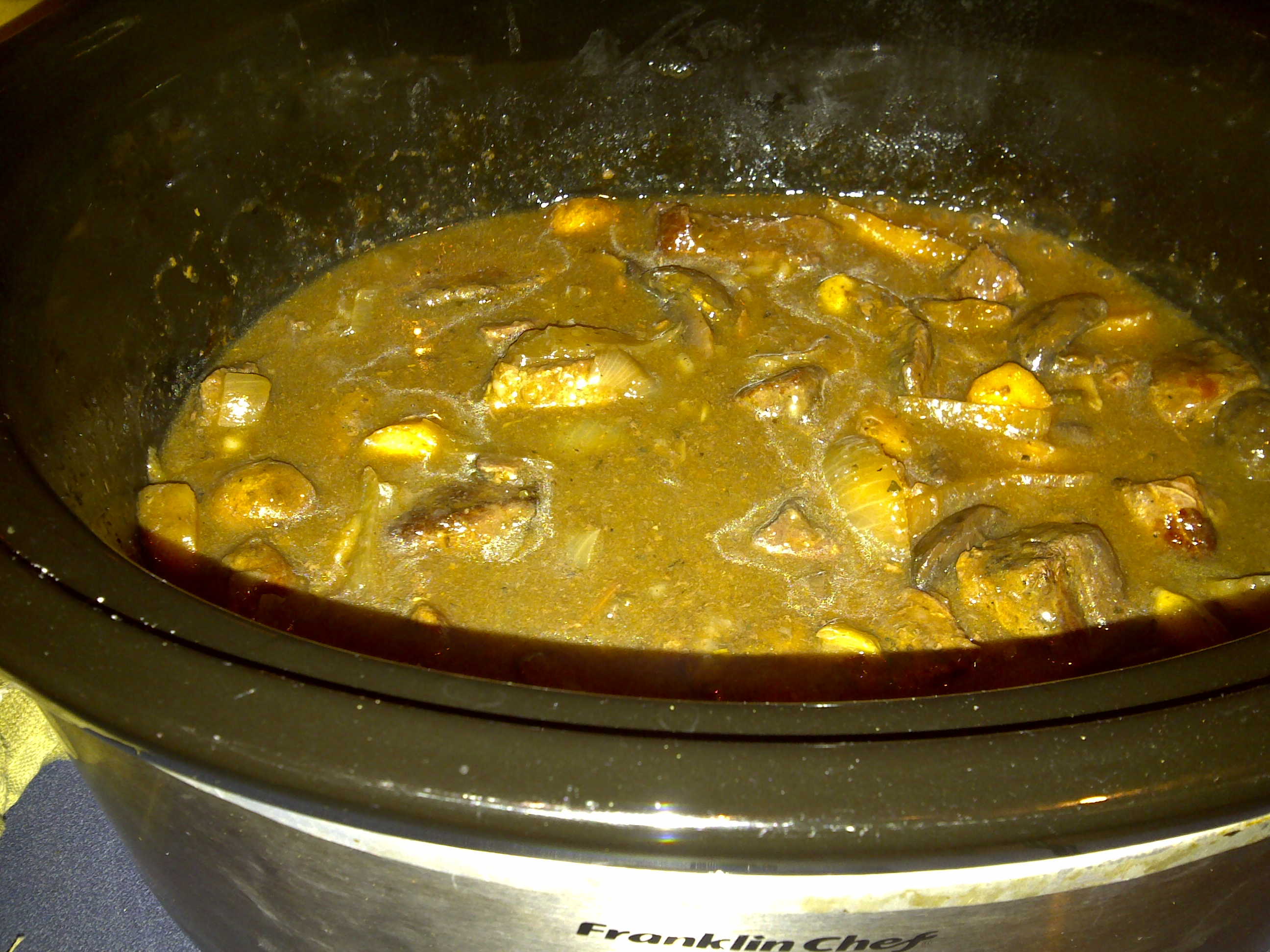 Beef Stew with Mushrooms, parsnips, and wine: cooked and ready to eat